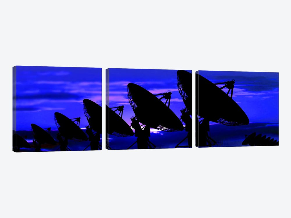Silhouette of satellite dishes by Panoramic Images 3-piece Canvas Art Print