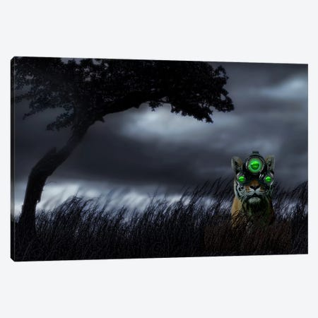 Tiger wearing night vision goggles Canvas Print #PIM9938} by Panoramic Images Canvas Wall Art