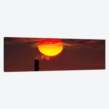 Smoke stack in sunset Canvas Print #PIM9939} by Panoramic Images Canvas Artwork
