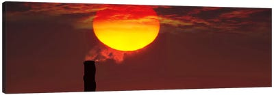 Smoke stack in sunset Canvas Art Print