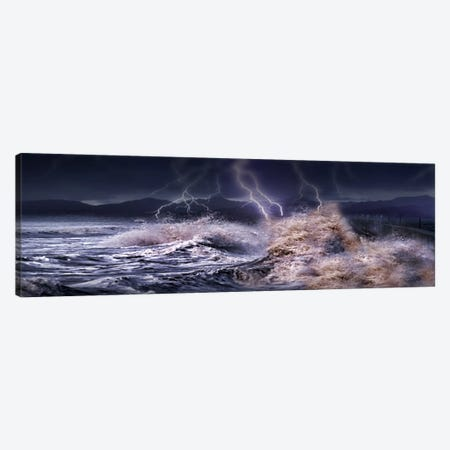 Storm waves hitting concrete Canvas Print #PIM9940} by Panoramic Images Canvas Print