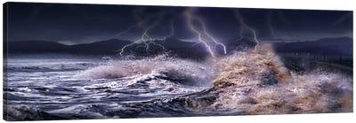 Storm waves hitting concrete Canvas Art Print