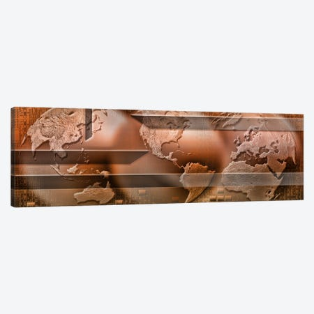 Three parts of the earth surrounded by digital information Canvas Print #PIM9941} by Panoramic Images Canvas Print