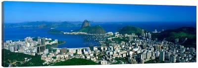 Aerial View Of Botafogo And Urca Neighborhoods With Sugarloaf Mountain, Rio de Janeiro, Brazil Canvas Art Print