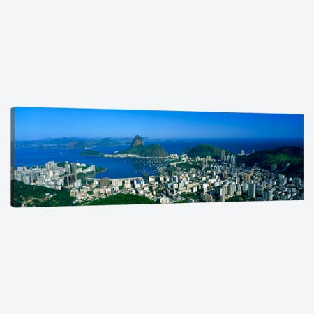 Aerial View Of Botafogo And Urca Neighborhoods With Sugarloaf Mountain, Rio de Janeiro, Brazil Canvas Print #PIM995} by Panoramic Images Canvas Art Print