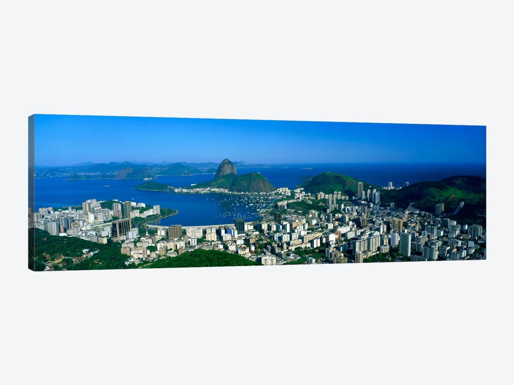 Aerial View Of Botafogo And Urca Neighborhoods With Sugarloaf Mountain, Rio de Janeiro, Brazil by Panoramic Images 1-piece Canvas Art