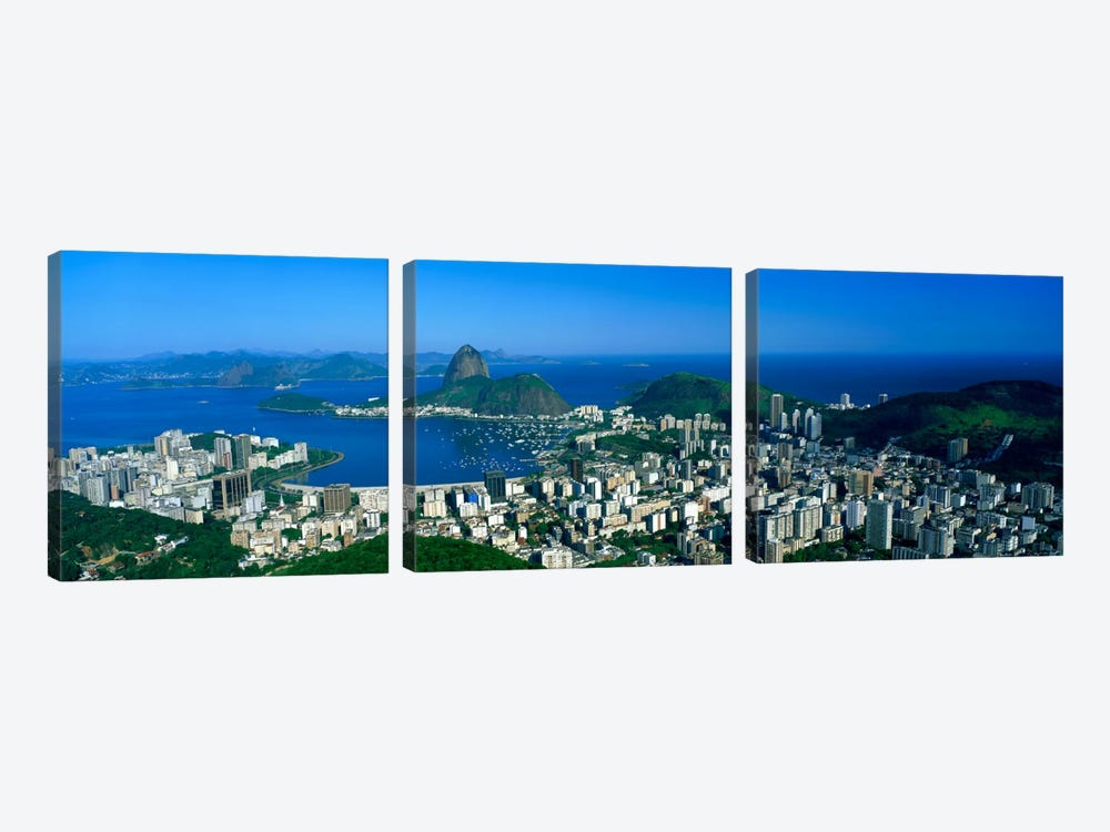 Aerial View Of Botafogo And Urca Neighborhoods With Sugarloaf Mountain, Rio de Janeiro, Brazil by Panoramic Images 3-piece Canvas Art
