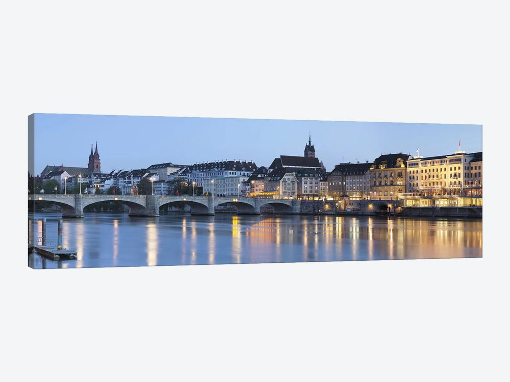 Bridge across a river with a cathedral in the background, Mittlere Rheinbrucke, St. Martin's Church, River Rhine, Basel, Switzer by Panoramic Images 1-piece Canvas Art