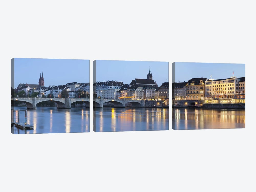Bridge across a river with a cathedral in the background, Mittlere Rheinbrucke, St. Martin's Church, River Rhine, Basel, Switzer 3-piece Canvas Art