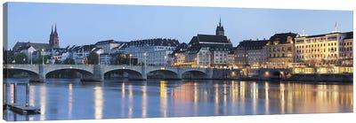 Mittlere Rheinbrucke With Altstadt Grossbasel In The Background, Basel, Switzerland Canvas Art Print