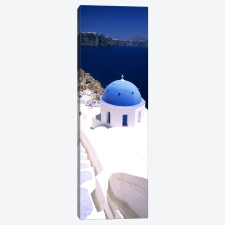 High angle view of a church with blue dome, Oia, Santorini, Cyclades Islands, Greece Canvas Print #PIM9984} by Panoramic Images Canvas Artwork