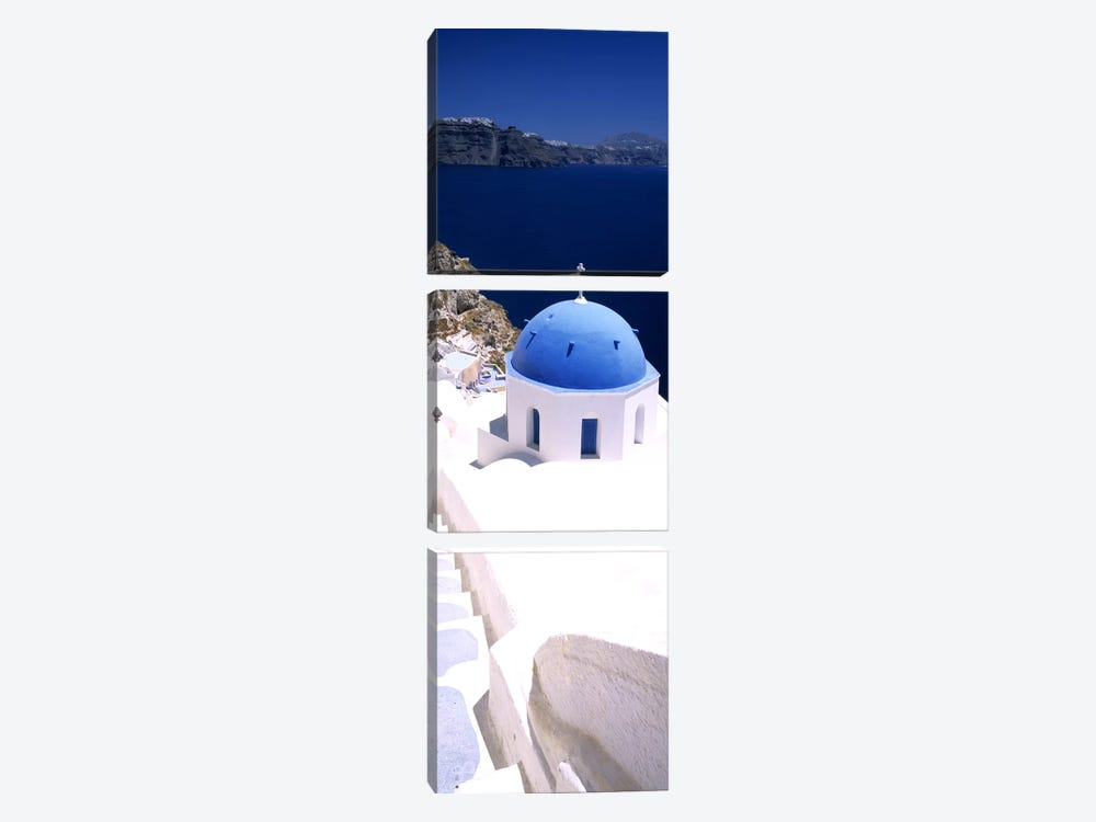 High angle view of a church with blue dome, Oia, Santorini, Cyclades Islands, Greece by Panoramic Images 3-piece Art Print