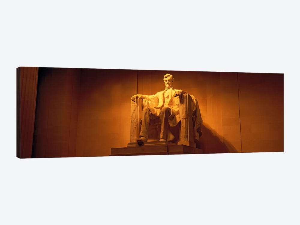 USA, Washington DC, Lincoln Memorial, Low angle view of the statue of Abraham Lincoln by Panoramic Images 1-piece Canvas Art Print