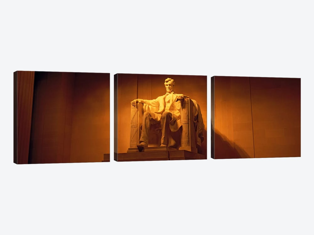 USA, Washington DC, Lincoln Memorial, Low angle view of the statue of Abraham Lincoln by Panoramic Images 3-piece Art Print