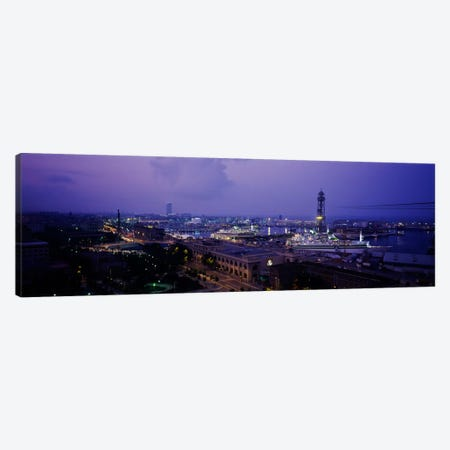 High-Angle View Of The El Raval Neighborhood And Gothic Quarter, Barcelona, Spain Canvas Print #PIM999} by Panoramic Images Canvas Artwork