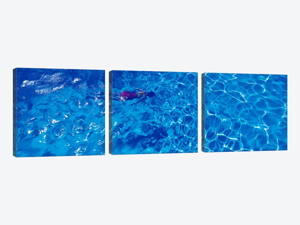 Woman in swimming pool by Panoramic Images 3-piece Canvas Wall Art