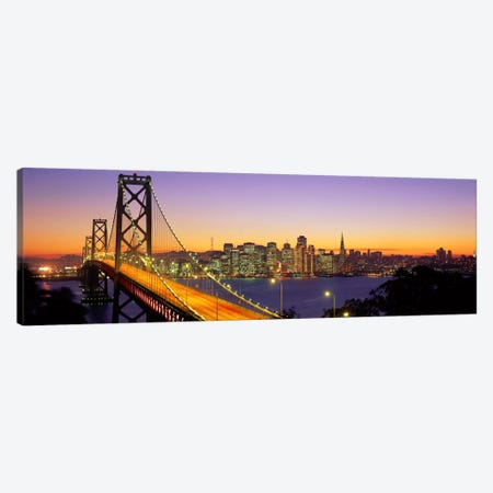 Bay Bridge At Night, San Francisco, California, USA Canvas Print #PIM9} by Panoramic Images Canvas Artwork
