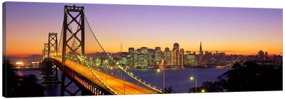 Bay Bridge At Night, San Francisco, California, USA Canvas Art Print