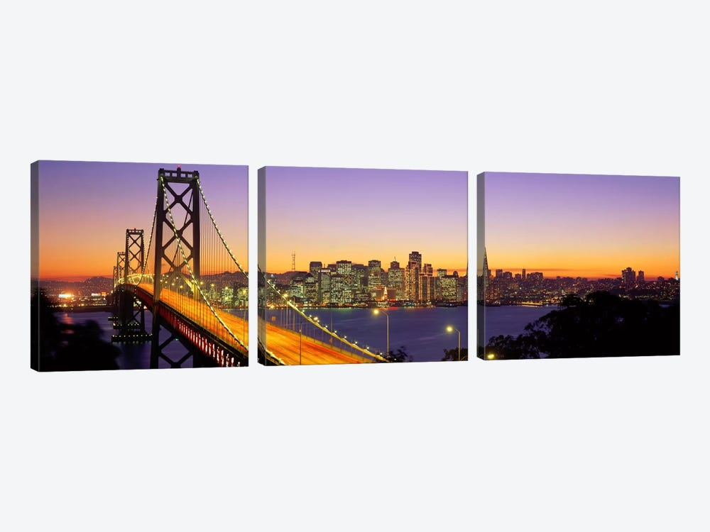 Bay Bridge At Night, San Francisco, California, USA by Panoramic Images 3-piece Art Print