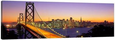 Bay Bridge At Night, San Francisco, California, USA Canvas Art Print