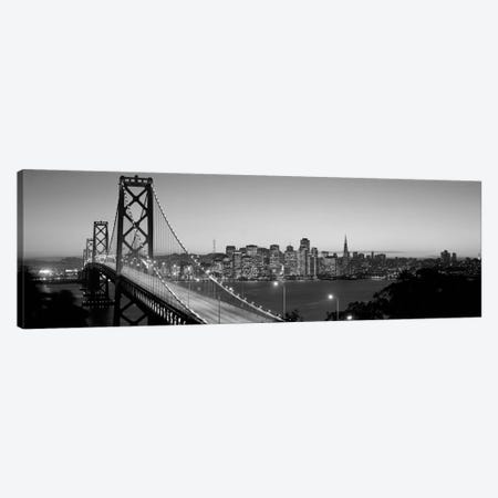 Bay Bridge At Night, San Francisco, California, USA (black & white) Canvas Print #PIM9bw} by Panoramic Images Canvas Art
