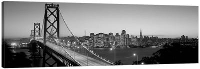 Bay Bridge At Night, San Francisco, California, USA (black & white) Canvas Print #PIM9bw