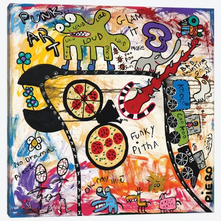 Funky Pizza 3-Piece Canvas #PIR57} by Piero Canvas Art Print