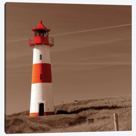 Red & White Lighthouse Canvas Print #PIS115} by PhotoINC Studio Art Print