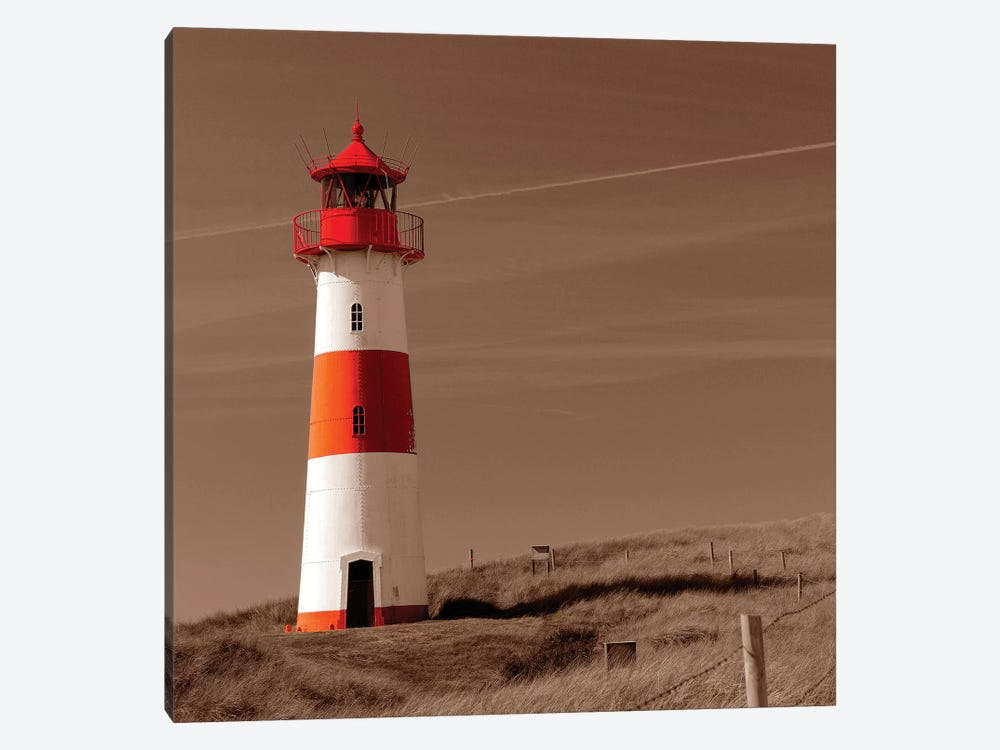 Red & White Lighthouse by PhotoINC Studio 1-piece Canvas Art