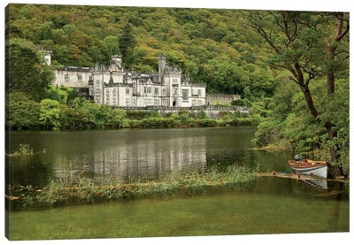 Kylemore Abbey, County Galway, Ireland, Castle, Towers Landscape, Scenic, Boat Canvas Art Print