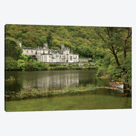 Kylemore Abbey, County Galway, Ireland, Castle, Towers Landscape, Scenic, Boat Canvas Print #PJW5} by Patrick J. Wall Art Print
