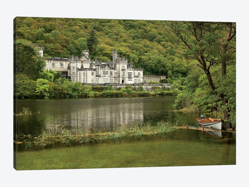 Kylemore Abbey, County Galway, Ireland, Castle, Towers Landscape, Scenic, Boat 1-piece Canvas Art Print