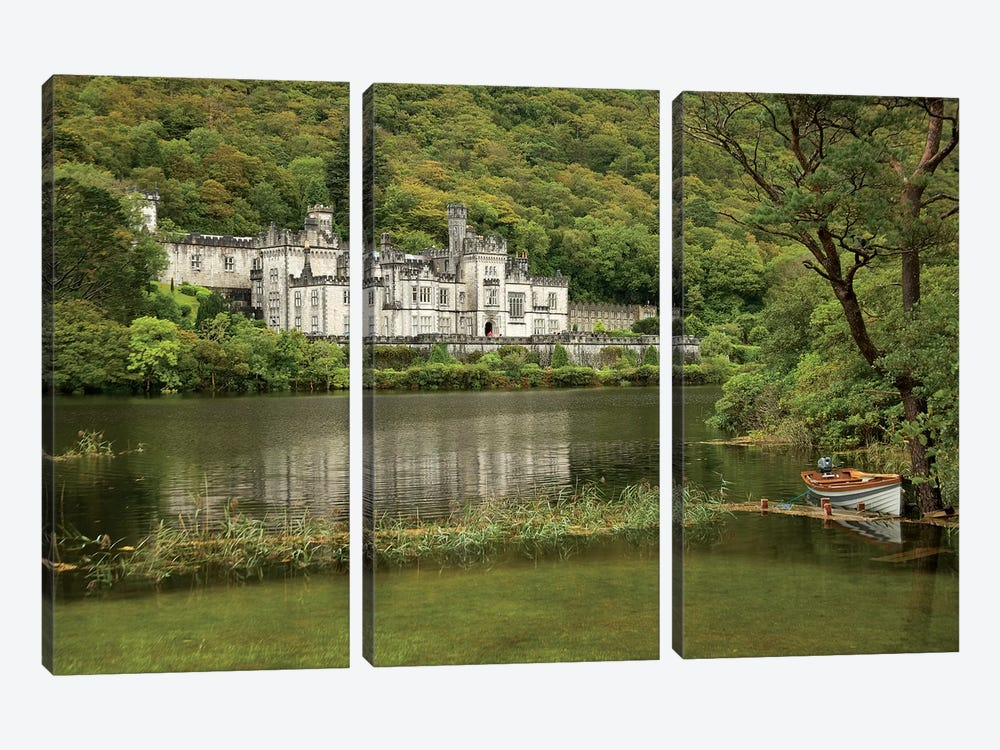 Kylemore Abbey, County Galway, Ireland, Castle, Towers Landscape, Scenic, Boat 3-piece Canvas Art Print