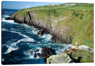Shoreline, Dingal Peninsula, Ireland, Water, Coast, Cliff Canvas Art Print