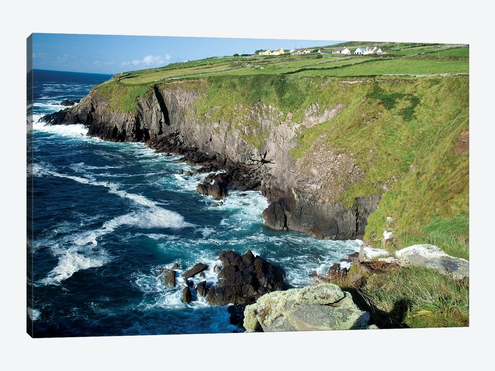 Shoreline, Dingal Peninsula, Ireland, Water, Coast, Cliff by Patrick J. Wall 1-piece Canvas Wall Art