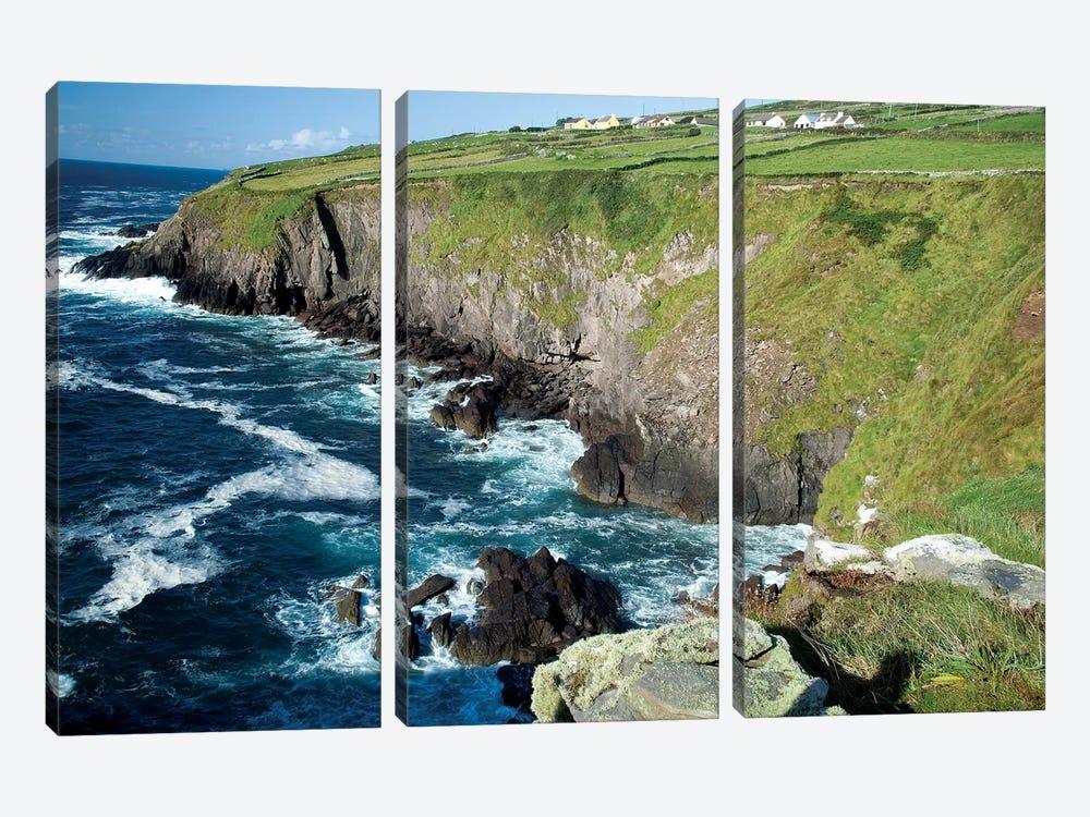 Shoreline, Dingal Peninsula, Ireland, Water, Coast, Cliff by Patrick J. Wall 3-piece Canvas Artwork