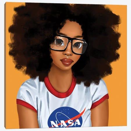 Nerd Girl Canvas Print #PKA16} by Princess Karibo Canvas Art Print