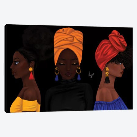 Girls 3-Piece Canvas #PKA7} by Princess Karibo Canvas Art Print