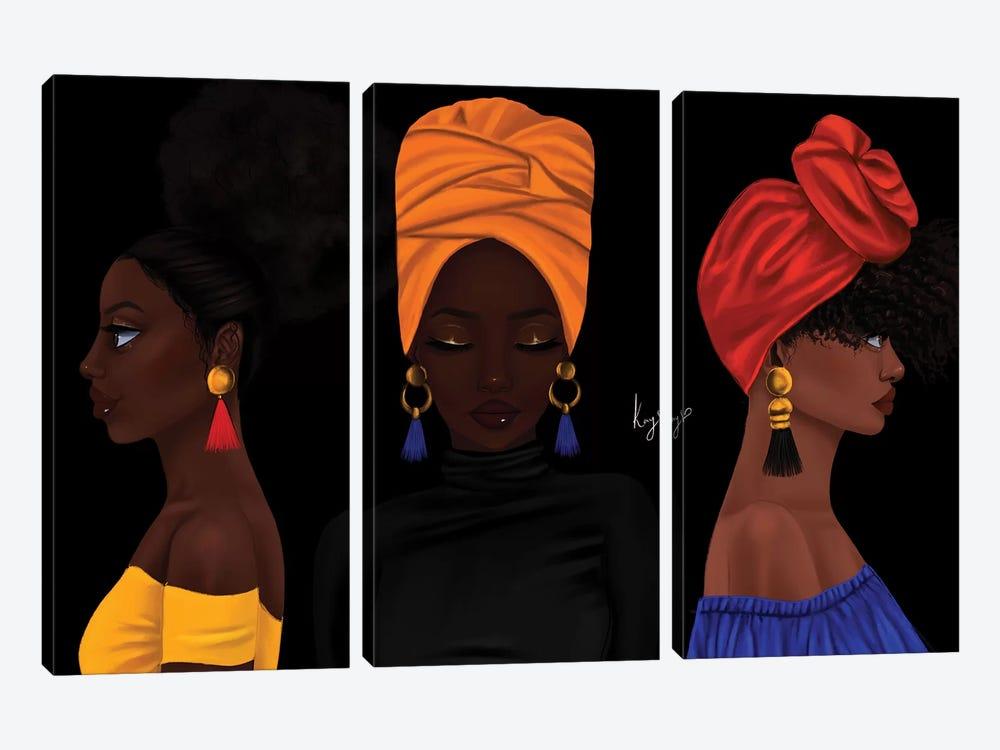 Girls by Princess Karibo 3-piece Canvas Wall Art