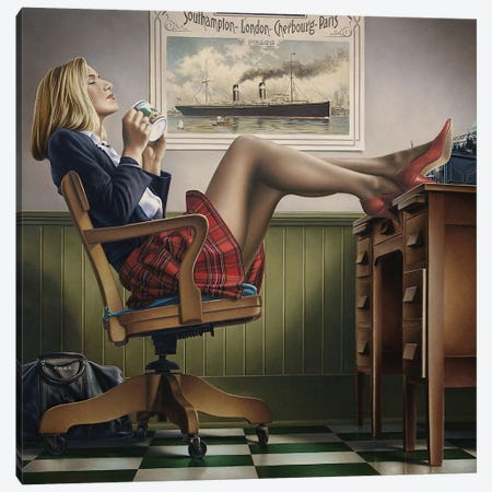 Coffee Break Canvas Print #PKE3} by Paul Kelley Canvas Art