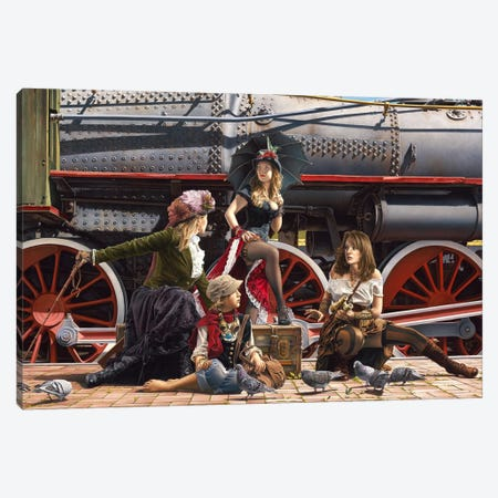 Last Train For The Coast Canvas Print #PKE7} by Paul Kelley Canvas Art Print