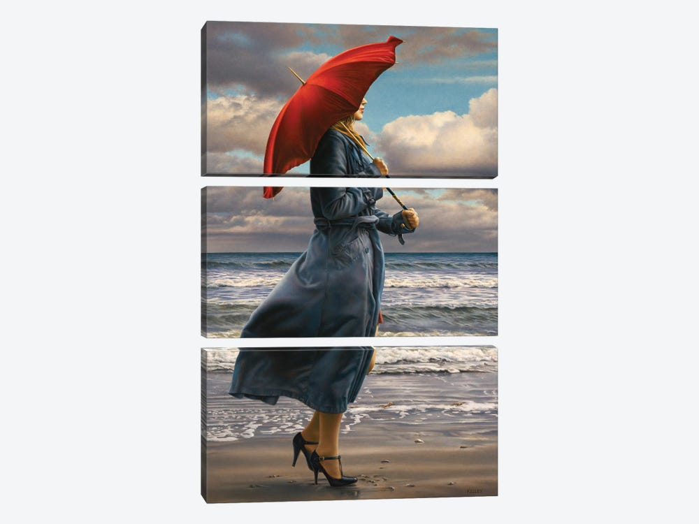 Red Umbrella by Paul Kelley 3-piece Canvas Wall Art