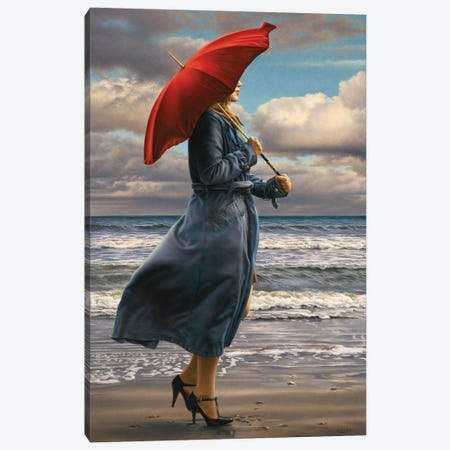 Red Umbrella Canvas Print #PKE9} by Paul Kelley Canvas Artwork
