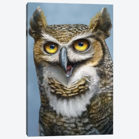 Great Horned Owl Totem Canvas Print #PLA14} by Patrick Lamontagne Canvas Art
