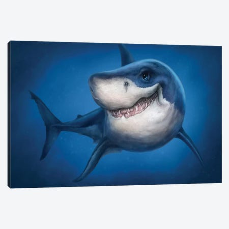 Shark Canvas Print #PLA42} by Patrick LaMontagne Canvas Artwork
