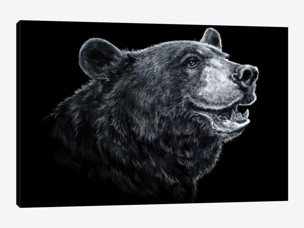 Black Bear - Black & White by Patrick LaMontagne 1-piece Canvas Artwork