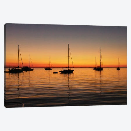 Sunset Boats Canvas Print #PLH38} by Peter Laughton Canvas Art