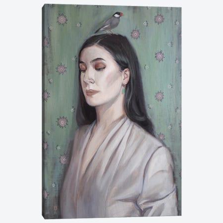 Portrait With A Bird Canvas Print #PLK1} by Polina Kharlamova Canvas Print