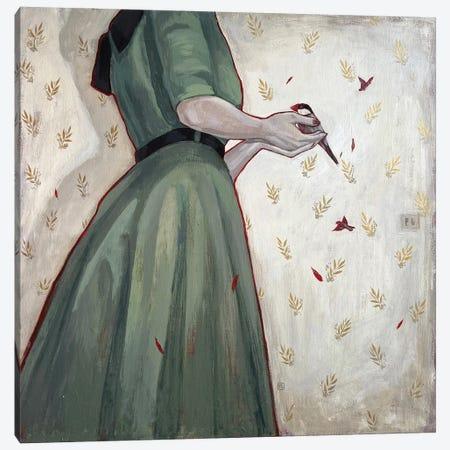 Lady With A Bird Canvas Print #PLK25} by Polina Kharlamova Canvas Print