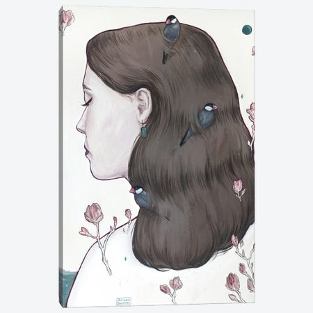 Moon Lady Canvas Print #PLK5} by Polina Kharlamova Canvas Wall Art